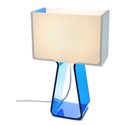 Pablo Designs Tube Top Table Lamp, Blue - I love a brightly colored accent lamp, and the blue color and cool lines of this acrylic design would be a fun addition to the home.