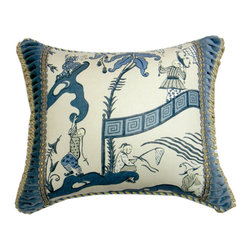 """Metrohouse Designs - Palasio Toile Accent Pillow - This pillow made with Chinoiserie toile called """"Pagoda river"""" by Sanderson"""