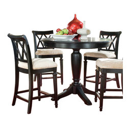 American Drew - American Drew Camden-Dark 6-Piece Bar Height Ped Dining Room Set in Black - The Camden-Dark accents simple forms with quiet traditional references, gentle curves and a beautiful rustic black finish that lets the character of the wood show through. The brushed nickel finish hardware adds even more character to Camden. This collection will work great in most any setting. Create an urban rustic loft, a classic antique look or a mountain vacation home.