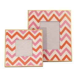 Pink Bargello Picture Frame - Every room in your home can use some personalization with eye-catching picture frames. These punchy pink and tangerine orange ones are a great way to accessorize your favorite family photos.
