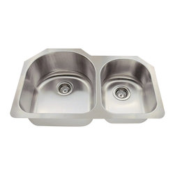 """MR Direct - Offset Stainless Steel Kitchen Sink - The 532L offset double bowl undermount sink is constructed from 304 grade stainless steel and is available in 18 gauge thickness. The surface has a brushed satin finish to help mask small scratches that occur over time and keep your sink looking beautiful for years. The overall dimensions of the 532L are  and a 33"""" minimum cabinet size is required. This sink contains a 3 1/2"""" offset drain, is fully insulated and comes with sound dampening pads. As always, our stainless steel sinks are covered under a limited lifetime warranty for as long as you own the sink."""