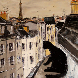 overstockArt.com - De Jiel - Black cat on roofs of Paris - Black cat on roofs of Paris is a beautiful painting of a cat, a motif Atelier De Jiel often uses in his paintings. Enjoy the beauty and color of this painting reproduced as a fine canvas print. Atelier De Jiel is a professional painter from French region Paca. He may be given the title of a conventional painter and often compared to close to the art of children, but this is mistaken. It's his child like approach and soul which he draws his energy, an essential source of his creative energy and universe. His paintings are never a perfect reproduction of reality and his focus is especially on playing with colors and contrast. Atelier's art can be found part of many private collections in France and throughout the world and he also exhibits in France and abroad.