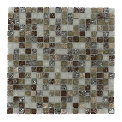 "Alloy Weathered Leather 1/2 X 1/2 Glass And Marble Tiles - ALLOY WEATHERED LEATHER 1/2 X 1/2 GLASS TILE This beautiful stone mosaic blend of polished and frosted in cream, brown and beige glass and marble leaves the room contemporary. Add the distinct shattered look gives this tile a unique design. The color is painted on the back of the tile so it will not scratch or chip the color off. The mesh backing not only simplifies installation, it also allows the tiles to be separated which adds to their design flexibility. Size: 1/2 x 1/2 Color: Cream, Brown and Beige Material: Marble & Glass Finish: Polished and Frosted - Shattered Pattern Sold by the Sheet - each sheet measures 11 3/4"" x 11 3/4"" (0.96 sq. ft.) Thickness: 8mm"