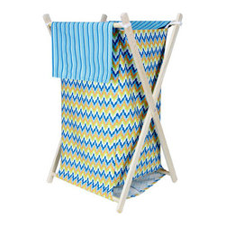 "Trend Lab - Hamper Set - Levi - The Levi Hamper by Trend Lab is a decorative solution for quick clean up. The cotton chevron print body and stripe print outer flap easily attaches to the collapsible pine wood frame. The fashionable color palette of nautical blue, tiger orange, blue raspberry, chartreuse green and white make this hamper suitable for any room of the house. Machine washable inner mesh liner is removable making the transport of laundry effortless. Assembled hamper measures 27"" x 15"" x 15"". This hamper coordinates with the Levi collection."