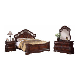 Furnituremaxx - Tuscany 4-PC Cherry Modern Wood Bedroom Set, King Bed, Dresser&Mirror, Nightstan - The majestic Tuscany bedroom set is packed full of design features that are sure to impress. Set includes one king bed, one dresser & mirror and one nightstand. The dresser and nightstand have a classic Monbay frame, shaped aprons and intricate solid wood moldings and returns. The bed and mirror features classic arched top and elegant carved scroll design, as well as shaped sides that compliment the Bombay style case pieces.
