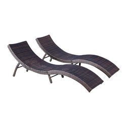 Great Deal Furniture - Maureen Outdoor Multibrown PE Wicker Folding Chaise Lounge Chairs (Set of 2) - Lounge in the outdoors in modern style and comfort with the Maureen Chaise Lounge Chair. Constructed from all-weather resistant wicker wrapped around an iron frame, the curves are designed to conform to the body for maximum relaxation. This lounge folds in half and the legs can be folded in for easy storage. Perfect for tanning and enjoying the outdoors or pool side, you will want to purchase a few of these chaise lounge chairs.