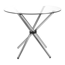 Euro Style - Round Glass Top Table with Crossed Chrome Leg - Finish: 36 in. Glass TopChromed tubular steel base. Chrome steel base with 36 in. or 42 in. glass round top. 3/8 in. thick clear Glass with a pencil edge. Chrome Base, Clear Glass Top. Some assembly required. 28 in. W x 28 in. L x 30.25 in. H (7.04 lbs.)