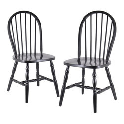 Winsome Wood - Wooden Windsor Dining Chairs in Black, Set of - From their gracefully arched backs to the ornately turned legs and spindles, our wooden Windsor dining chairs exude charm and class! These sturdy wooden chairs are crafted with time-honored care and display a rich black finish that provides lasting beauty and durability. * Black Finish. Windsor Style. 36.1 in. H X 17.3 in. W x 18 in. D