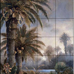 The Tile Mural Store (USA) - Tile Mural - Jl - Misty Palms I - Kitchen Backsplash Ideas - This beautiful artwork by James Lee has been digitally reproduced for tiles and depicts a wonderful water scene with palm trees.  With our enormous selection of tile murals of plants and flowers you can bring your kitchen backsplash tile project to life. A decorative tile mural with plants and flowers is an impressive kitchen backsplash idea and decorative flower tiles also work great in the bathroom. Add splashes of color and life to your tile project with images of flowers on tiles and tiles with pictures of plants.