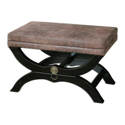 Uttermost - Uttermost 23146  Hartman Cushioned Bench - Velvety soft, faux leather on a satin black wooden base with antique brass metal accents.