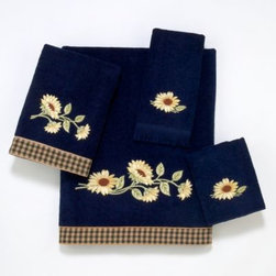 Avanti - Avanti Lancaster Bath Towel in Indigo - These towels showcase a beautiful sunflower embroidery on a rich indigo blue background. They are finished with a coordinating green checked fabric trim.