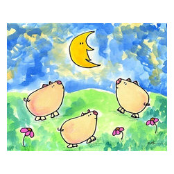 Oh How Cute Kids by Serena Bowman - Three Hog Night, Ready To Hang Canvas Kid's Wall Decor, 8 X 10 - Each kid is unique in his/her own way, so why shouldn't their wall decor be as well! With our extensive selection of canvas wall art for kids, from princesses to spaceships, from cowboys to traveling girls, we'll help you find that perfect piece for your special one.  Or you can fill the entire room with our imaginative art; every canvas is part of a coordinated series, an easy way to provide a complete and unified look for any room.