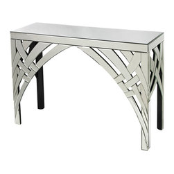 Sterling Industries - Curved Ribbons Mirrored Console Table - This high quality mirrored console updates any space. Mirror ribbons are cut by hand and placed on the front, adding dimensional character and interest. All edges are beveled by hand. A matching mirror is available.