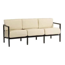 Woodard Salona Sofa - Our Salona Sofa by Joe Ruggiero and Woodard is shown in a Midnight Finish with Antique Beige CushionsOutdoor Sofa