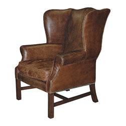 Kathy Kuo Home - Gaston Aged Leather Wingback Armchair - Sink into the luxurious, supple leather of this oversized, opulent armchair. The ideal chair for reading, conversing or resting, our  aged leather is replete with the perfect patina. Enjoy the classic comfort in a library, sitting room or in front of the fireplace. This chair is custom made to order; takes up to 3 months to ship.