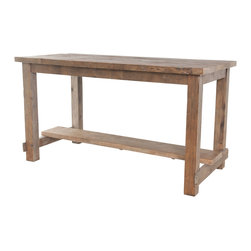 Four Hands - Bleaced Pine Rectangular Reclaimed Wood Pub Table - Casual, rustic style graces this solid reclaimed pine pub table. Use it at home, in an office, or an actual pub. As you can see the solid wood tabletop is thick and the substantial square legs with stretchers add even more durability. Pub table is made to todays eco-friendly standards. Reclaimed pine is bleached then sanded for smoothness and finally finished with a couple coats of lacquer. A one-of-a-kind piece with every order.