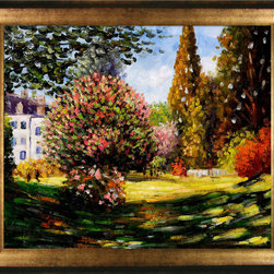 "overstockArt.com - Monet - Il Parco Monceau Oil Painting - 20"" x 24"" Oil Painting On Canvas Hand painted oil reproduction of a famous Monet painting, Il Parco Monceau. The original masterpiece was created in 1876. Today it has been carefully recreated detail-by-detail, color-by-color to near perfection. While Monet successfully captured life's reality in many of his works, his aim was to analyze the ever-changing nature of color and light. Known as the classic Impressionist, one cannot help but have deep admiration for his talent. This work of art has the same emotions and beauty as the original. Why not grace your home with this reproduced masterpiece? It is sure to bring many admirers!"