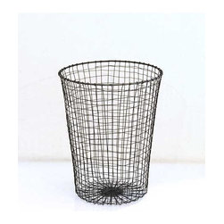 Wire Waste Paper Bin - A classic black wire woven waste paper bin. Round and slightly wider at the top than the bottom.