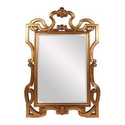 "Howard Elliott - Chesterton Gold Leaf Mirror - This Chesterton mirror is dramatic with its oversized ornate frame.  It is finished in a lovely gold leaf.  Frame Dimensions: 54""W X 84""H X 2""D; Mirror Dimensions: 36""W X 60""H; Finish: Gold Leaf; Material: Wood; Beveled: Yes; Shape: Rectangular; Included: Brackets, Ready to Hang"