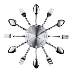 Modway Furniture - Modway Fork & Spoon Wall Clock in Silver - Wall Clock in Silver belongs to Fork Collection by Modway Capture the moment in bite-sized portions with this retro modern commentary on consumption. Interspersed silver-toned shimmering forks and spoons feed the senses with periodic servings of light while a sleek clock face apportions the measurements. Bring culinary expressionism to your kitchen in an eccentric exhibition of contemporary decor. Set Includes: One - Fork and Spoon Dining Wall Clock Wall Clock (1)