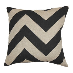 """The Pillow Collection - Eir Zigzag Pillow Black Natural 20"""" x 20"""" - This bold accent pillow is a fresh addition to your living space. The eye-catching zigzag pattern adds a touch of contemporary style to any room. The black and natural zigzag pattern in this throw pillow is visually entertaining. Available in other colors, you can easily combine this 20"""" pillow with other decor pieces. Place one or more of this pillow on your sofa, chair or bed for an updated look. Made of 100% high-quality cotton fabric. Hidden zipper closure for easy cover removal.  Knife edge finish on all four sides.  Reversible pillow with the same fabric on the back side.  Spot cleaning suggested."""