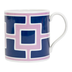 """Jonathan Adler - Jonathan Adler Carnaby Nixon Blue & Purple Mug - Final Sale - The Jonathan Adler Carnaby Nixon coffee mug awakens table settings with mod style. Bold against white porcelain, contemporary blue and purple squares exude geometric flair. 4.5""""W x 3.5""""H; High-fired porcelain; Top rack dishwasher safe; Microwave safe"""