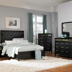 Coaster - Devine 5Pc Queen Bedroom Set in Black Finish - The unique styling of the Devine bedroom collection offers a casual contemporary look that is sure to make a bold statement in your master bedroom. The headboard features a button tufted back with detailed nailhead trimming. The top drawer fronts on each case piece features a mirrored front panel which creates an exceptional appearance and style. A bevelled mirror accompanies the dresser to pull in the contemporary feel of this collection.