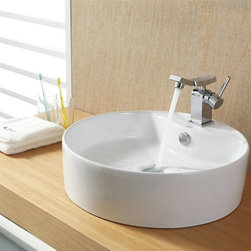 Kraus - Kraus White Round Ceramic Sink and Unicus Basin Faucet - Add a touch of elegance to your bathroom with a ceramic sink combo.