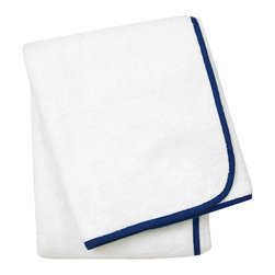 "Jonathan Adler - Jonathan Adler Navy Piped Hand Towel - Jonathan Adler's stylish hand towel energizes bathrooms with the designer's ""happy chic"" aesthetic. When edged with piping in a cool shade of navy, this everyday white powder room essential becomes a contemporary accessory. 18""W x 30""H; 100% Pima cotton; 650 gsm"