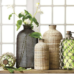 Ballard Designs - Demijohns - Intricately hand crafted. Antique demijohns look great and we see them in our favorite designer showrooms. But they often cost a fortune. Ours have all the charm without the big price. Iron mesh style has clear glass bottle; Woven Cane has amber glass; Knotted Jute has green glass and cork stopper. Demi John features: .