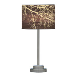 jefdesigns - Branch 1 Stem Table Lamp - A graceful tracing of tree branches transform this simple table lamp's linen shade into art. A masterpiece by Joe Futschik, it has a lean metal stem base.