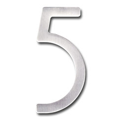 "houseArt - HouseArt Number 5, Raw Stainless - The Original houseArt Font Numbers, House Jewelry! Modern Classics that enhance every style home, available in 3"", 5"" and 8"", Finish: Raw Stainless Steel; NUMBER 5"