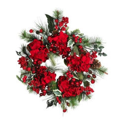 Nearly Natural - 22 Inch Hydrangea Holiday Wreath - Measuring 22 inches round, this festive holiday wreath incorporates magnificent red hydrangeas, evergreen sprigs, pinecones, and sprays of luscious berries. While it will look fabulous on a wall or door, hang it over a mirror for a truly one of a kind decoration. It can also be used as a table centerpiece by placing a large candle and holder in the middle.