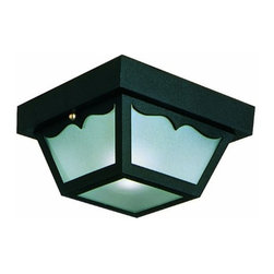 DHI-Corp - Outdoor Ceiling Mount Light, 10.5-Inch by 5.5-Inch, Black Polypropylene - The Design House 502872 Outdoor Ceiling Mount Light greets your guests at the door with a soft, inviting glow. Featuring a black polypropylene finish and frosted glass, this ceiling mount light has subtle curved details and a shadow box design. The small construction will emit just enough light for easy entry into your home or cottage without overpowering glare. With subtle details and a bright finish, illuminate your front porch or back deck with this fixture. Measuring 10.5-inches by 5.5-inches, this lamp matches brick, stone, wood paneling or aluminum siding. This light uses (2) 60-watt medium base incandescent lamps and is rated for 120-volts. UL listed and UL approved for wet areas, this mount light stays bright in harsh weather conditions. Coordinate your home with fixtures and furnishings from the Design House collection for a complete look. The Design House 502872 Outdoor Ceiling Mount Light comes with a 10-year limited warranty that protects against defects in materials and workmanship. Design House offers products in multiple home decor categories including lighting, ceiling fans, hardware and plumbing products. With years of hands-on experience, Design House understands every aspect of the home decor industry, and devotes itself to providing quality products across the home decor spectrum. Providing value to their customers, Design House uses industry leading merchandising solutions and innovative programs. Design House is committed to providing high quality products for your home improvement projects.
