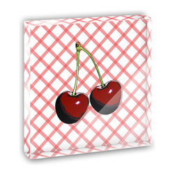 """Made on Terra - Cherries Mini Desk Plaque and Paperweight - You glance over at your miniature acrylic plaque and your spirits are instantly lifted. It's just too cute! From it's petite size to the unique design, it's the perfect punctuation for your shelf or desk, depending on where you want to place it at that moment. At this moment, it's standing up on its own, but you know it also looks great flat on a desk as a paper weight. Choose from Made on Terra's many wonderful acrylic decorations. Measures approximately 4"""" width x 4"""" in length x 1/2"""" in depth. Made of acrylic. Artwork is printed on the back for a cool effect. Self-standing."""