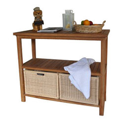 "Anderson Teak - Towel Console with 2 Shelves Table - Our Spa towel console table collection is one of a kind product. It made of top grade teak wood with a combination of 4-wicker baskets for the towels. It is a perfect console table for Spa, gym, or pool area. The console table fits for 4-piece huge baskets with a dimension of 19.5""W 16.5""D 14""H for clean or dirty towels/clothes. Basket sold separately in pair."