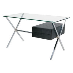 Nuevo - Xavier Desk, Chromed Steel and Ash - Nuevo Living is a premier manufacturer of high quality modern furniture and decor. Nuevo Specializes in wonderful original designs, high quality interpretations of modern classics, designer decorating items, and specialty lighting. Creating a modern home environment is easy with Nuevo Modern Designs.