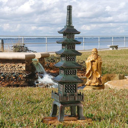 Design Toscano - Design Toscano The Nara Temple - Asian Garden Pagoda Sculpture - EU7430 - Shop for Statues and Sculptures from Hayneedle.com! Bring Zen-inspired serenity to your meditation garden. The Design Toscano The Nara Temple - Asian Garden Pagoda Sculpture is artfully rendered and incredibly detailed. This garden statue has a grand scale to make an impression. Its bronzed verdigris finish is hand-painted for an aged look you'll love. It's made of designer resin that weathers the elements beautifully.About Design ToscanoDesign Toscano is the country's premier source for statues and other historical and antique replicas which are available through the company's catalog and website. Design Toscano's founders Michael and Marilyn Stopka created Design Toscano in 1990. While on a trip to Paris the Stopkas first saw the marvelous carvings of gargoyles and water spouts at the Notre Dame Cathedral. Inspired by the beauty and mystery of these pieces they decided to introduce the world of medieval gargoyles to America in 1993. On a later trip to Albi France the Stopkas had the pleasure of being exposed to the world of Jacquard tapestries that they added quickly to the growing catalog. Since then the company's product line has grown to include Egyptian Medieval and other period pieces that are now among the current favorites of Design Toscano customers along with an extensive collection of garden fountains statuary authentic canvas replicas of oil painting masterpieces and other antique art reproductions. At Design Toscano attention to detail is important. Travel directly to the source for all historical replicas ensures brilliant design.