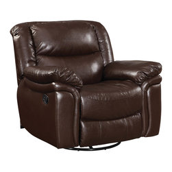 "Coaster - Tamilla Dark Brown Bonded Leather Swivel Gilder Recliner - This dark brown bonded leather living room collection has a durable cover that resists tearing, and is easy to wipe clean. This group features a recliner sofa with a drop down table and scoop seating. Rock your way into comfort with the matching glider love seat and recliner and create more seating space. Collection: Tamilla; Style: Transitional; Finish/Color: Dark Brown; Upholstery: Bonded Leather; Double Glider and Recliner; Sinuous Spring base; Webbed back construction; Seat Cushions: attached; Back Cushions: attached; Dimensions: 44.00""L x 44.00""W x 39.00""H; Seat Height: 20.00"", Seat Depth: 22.00"""