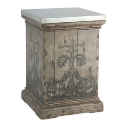 Kathy Kuo Home - Tracery French Country Antique Hand Painted End Table - Metal table tops are a fun and exciting way to spice up the look of a room. Table has aged metal edges and a removable top for additional storage.