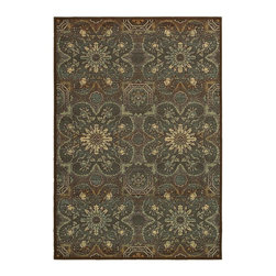 """Couristan - Transitional Alameda Hallway Runner 2'11""""x7'6"""" Runner Brown-Teal Area Rug - The Alameda area rug Collection offers an affordable assortment of Transitional stylings. Alameda features a blend of natural Brown-Teal color. Power Loomed of 100% Heat-Set Courtron Polypropylene the Alameda Collection is an intriguing compliment to any decor."""
