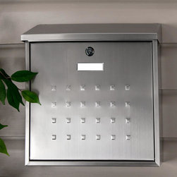 Premium Maxi Locking Wall-Mount Mailbox - Stainless Steel - This Stainless Steel Mailbox will make a perfect addition to your outdoor decor with its raised square design. The Premium Maxi Locking Wall-Mount Mailbox provides a sizable width and is ideal for spacious home entrances.