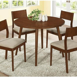 None - Modern Oak Veneer 42-inch Dining Table - This modern dining table is an exceptional addition to any casual dining space. This table is constructed of oak wood and veneers for long lasting sturdiness.