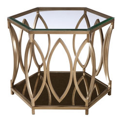 Standard Furniture - Standard Furniture Santa Barbara Hexagonal Glass Top End Table - Elegant Santa Barbara has a glamorous vintage Hollywood look, with its geometric metal frames finished in a classy champagne color.