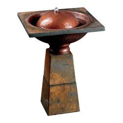 Kenroy - Kenroy Cauldron Birdbath Fountain - A beautiful birdbath bubbler, Cauldron is an amalgam of shapes and textures working together in this modern water feature.