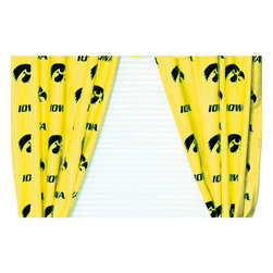 College Covers - NCAA Iowa Hawkeyes Drapes Collegiate Window Curtains - Features: