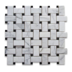 "Stone Center Corp - Calacatta Gold Marble Basketweave Mosaic Tile Black Dots 1x2 Honed - Calacatta gold marble 1"" x 2"" rectangle pieces and Nero Marquina 3/8"" dots mounted on 12"" x 12"" sturdy mesh tile sheet"