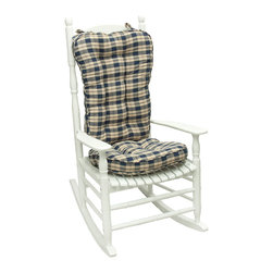 None - Blue Plaid Jumbo Rocking Chair Cushion - Use this chair cushion for rocking chairs. This plaid cushion by Greendale Home Fashions is perfect for large rocking chairs. It is made from 100 percent cotton and is comfy. This cushion provides an overfilled display with its polyester component.