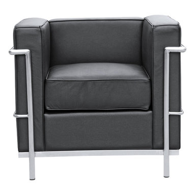 """Lemodenro - Arm Lounge Chair by Lemoderno, Black Leather - The LC2 Petite chair frames are manufactured using high gauge stainless steel. The tubular frame is polished to a perfect mirror finish. This stainless steel frame will never chip or rust. We have captured the true radius for each of the frame corners. The webbing is 2"""" nylon with hooks to hold it the frames. Our chairs match the dimensions of the world renowned original brand. This item is a high quality reproduction of the original."""
