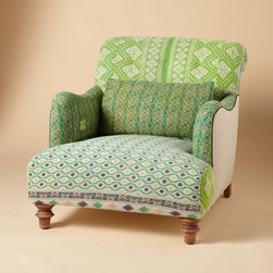 One-of-a-Kind Benazir Sari Armchair - The unexpected patterns of greens, blues, yellows and golds come together in this soft chair that's perfect for a rainy spring afternoon. Grab a cup of tea and a book, and you've got hours of comfort ahead.